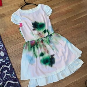 Jessica Simpson watercolor dress with buttons